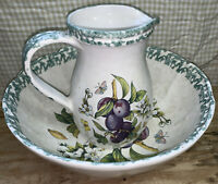 Vintage Plum Fruity Fruity Floral, Butterfly Pitcher and Basin Made For Himark