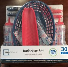 BARBECUE SET, in an Americana Red, White, and Blue Pattern. (30 Piece).  NEW.