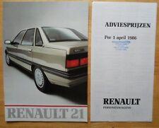 Renault 21 Salones De Prestigio Folleto Y Lista De Precios 1986-mercado holandés