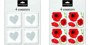 PACK OF 4 COASTERS IN HEARTS OR POPPY DESIGN