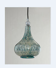 Blue Mercury Glass Fluted Pendant Light Mini Hanging Globe Chandelier Aqua New