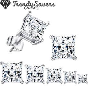 Men Women Kids 18K Gold Plated Square Diamond Cut Clear Silver Ear Stud Earrings