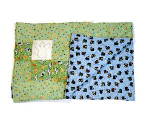 Handmade Baby Quilt Blanket Reversible Unique Multicolor Safari Animals & Trains