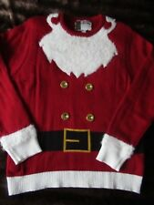 Christmas Mens Jumper MUSICAL Santa Style with Soft Beard Pattern Size LARGE