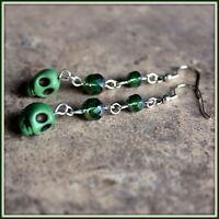 Handmade Green Skull Green Glass Bead Dangle Earrings