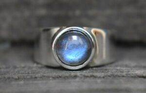 Natural Labradorite Gemstone with 925 Sterling Silver Ring for Men's #3043