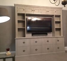 Painted TV Entertainment Unit - fluted style with top boxes and drawers to base