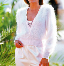 KNITTING PATTERN -Ladies mohair with DK gorgeous V sweater - Fits 32-42""