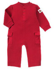 New Gymboree Boys In the Forest Red Quilted One Piece Romper Outfit 3 - 6 Months