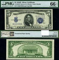 FR. 1654 N $5 1934-D Silver Certificate U-A Block Narrow Gem PMG CU66 EPQ