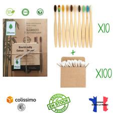 Pack Hygiène Bambou   10 Brosses à Dents en Bambou + 100 cotons tiges bambou