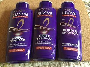 3 L'Oreal Elvive Colour Protect Anti-Brassiness Purple Shampoo 200ml