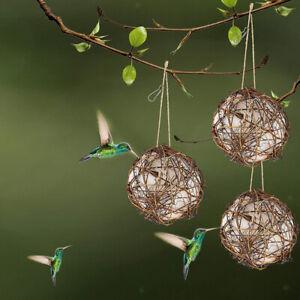 3Pieces Globe Hummingbird Nesters, Bird Nesting Houses, Refillable Rattan Balls