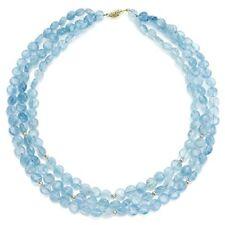 Strand Necklace 3-Rows 8mm Aquamarine Gemstones & Rondell 14k Yellow Gold 16''