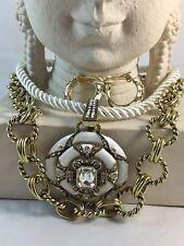 "HEIDI DAUS ""Newport Chic"" White Enamel Crystal Necklace Clip Earring Set"