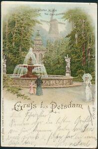 "Postkarte Gruss aus Potsdam ""Histor. Mühle"" bei Sanssoucci, litho, nach Güstrow"