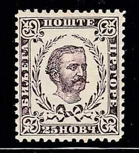 Montenegro 1879 25n Gray Lilac - MINT NEVER HINGED SCV $25+++ Scott # 14