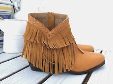 womens yellow short leather fringe boots size 41