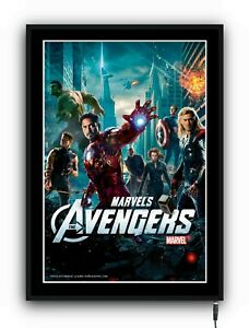 AVENGERS Light up movie poster framed lightbox led sign home cinema man cave den