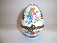 Peint Main Limoges Trinket-Egg Shaped Box