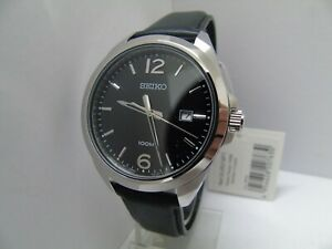 SEIKO MENS BLACK DIAL STAINLESS STEEL WATCH  SUR215P1  *NEW* RRP £199.99