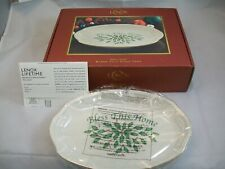 """Lenox Holiday Christmas Bless This Home Tray Ivory Gold TrimApprox 10"""" L Unused"""