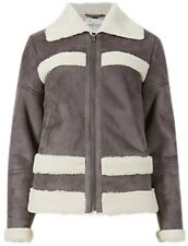 M & S Indigo Neutral Grey Faux Suede / Sheep Wool Zip Jacket Size 16 BNWT