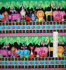 Jungle Things Fabric - Bright Animal Stripe on Black - RJR Cotton YARD
