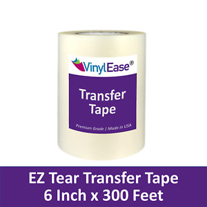 6 in x 300 ft Roll of Clear EZ TEAR Transfer Tape for Sign Craft Vinyl V0822