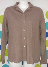 Orvis Women's Small Linen Wool Blend Brown Button Front Cardigan Sweater