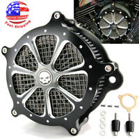 Black Double Spike Air Cleaner For Harley Touring Electra Street Glide Road King