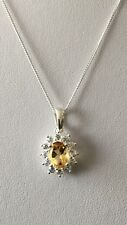 """Beautiful Sterling Silver Citrine & White Zircon Pendant With 18"""" Chain"""