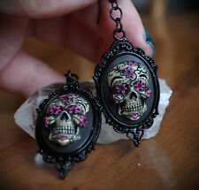 Black&Pink Sugar Skull Calavera Day of the Dead Dia De Los Muertos Earrings