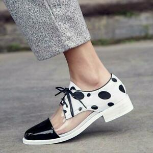 Womens Ladies Fashion Leather Transparent Low Heel Lace Up Brougue Court Shoes