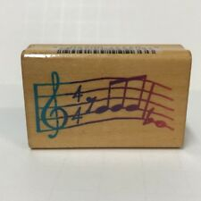 Comotion Rubber Stamp #290 Music Notes Treble Clef Band 4 Time Signature 1989 WM