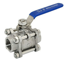 "3/4"" NPT 3-Piece Ball Valve Full Port SS 316 Stainless Steel WOG1000 Threaded"