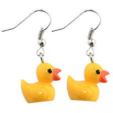 FUNKY RETRO RESIN RUBBER DUCK DROP EARRINGS - Yellow Kitsch Duckie Joe Cool