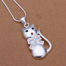 """Sterling Silver Plated Cat Kitten Pendant Necklace Faux Pavee Diamond 18""""Crystal"""