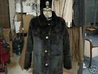 "REVERSIBLE SHEARED MINK to LEATHER 32"" COAT JACKET NEW!"