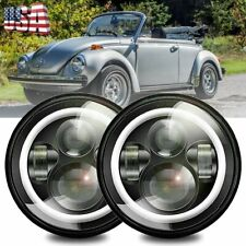 DOT 7 inch Round LED Headlights Halo Pair Kit Hi/Low Beam for VW Beetle Classic