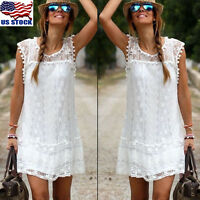 Women Summer Short Mini Dress Lace Floral Sleeveless Evening Party Sundress US