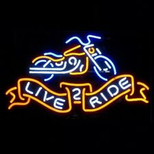 "New Live 2 Ride Motorcycles Neon Light Sign 24""x20"" Beer Bar Real Glass"