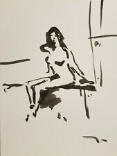 "JOSE TRUJILLO Contemporary EXPRESSIONISM INK WASH 11X15"" Portrait Woman NUDE COA"