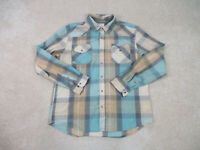 Levis Pearl Snap Shirt Adult Extra Large Brown Blue Western Cowboy Rodeo Mens A0