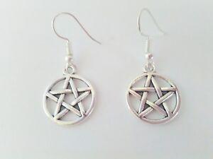 Pentagram Drop Earrings Pentacle Silver Nickel Free Wire Wiccan Pagan Jewellery