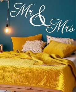 Mr and Mrs  Couple Wedding Gift  Deco Bedroom Wall Art Stickers Decals Vinyl