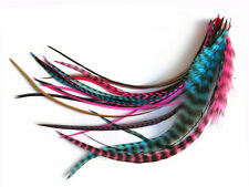 1 Dozen - Medium Party Mix Grizzly Rooster Hair Extension Feathers