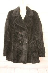 United Colors Of Benetton Womans Coat Black Faux Fur Double Breasted SZ Med VTG