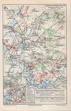 Mapa Map 1906: Leipziger pueblos batalla. Leipzig 16./18.10.1813 Napoleón