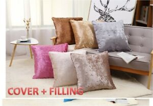 24X24 inches Luxury Plush Plain Crushed Velvet Cushion Covers + FILLING INCLUDED